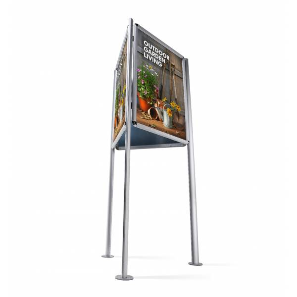 Třístranný stojan s klaprámy 700x1000mm, ostrý roh, profil 32mm