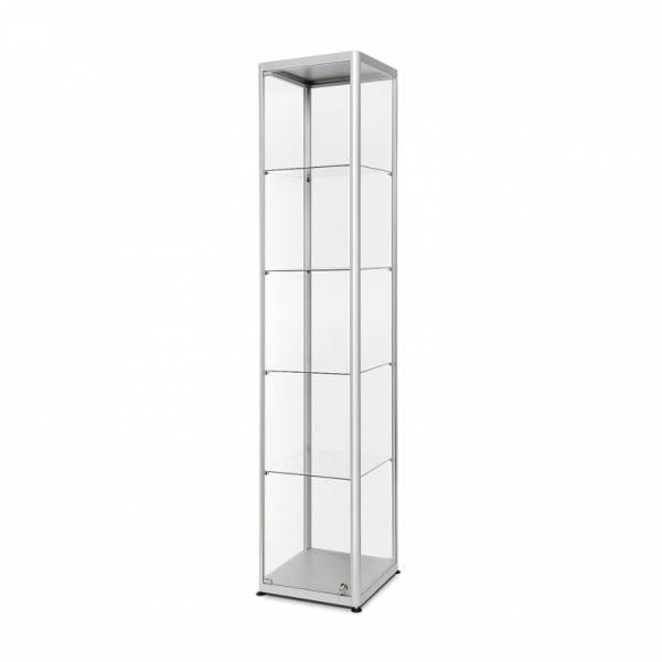 Skleněná produktová vitrína se čtvercovou základnou