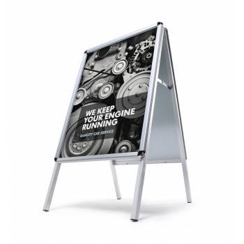 Reklamní áčko A2, oblý roh, profil 32mm, metalová záda, zvýšená odolnost proti vlivům počasí