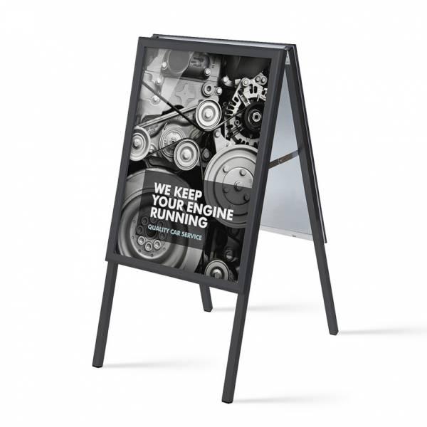 Reklamní áčko 500x700mm, ostrý roh, profil 32mm, plechová záda, černé