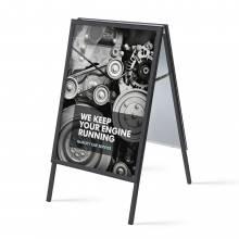 Reklamní áčko 700x1000mm, ostrý roh, profil 32mm, plechová záda, černé