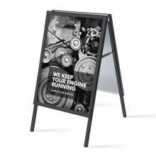 Reklamní áčko A1, ostrý roh, profil 32mm, plechová záda, černé